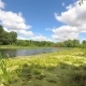 Forest Lake Under a Blue Sky with Clouds. - VideoHive Item for Sale