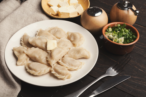 Dumplings with potato served at restaurant, Russian food - Stock Photo - Images