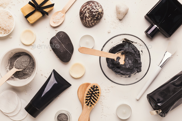 Natural cosmetics for home or salon spa treatment - Stock Photo - Images
