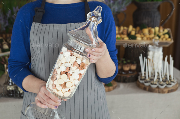 Dessert table for any holiday at wooden background - Stock Photo - Images