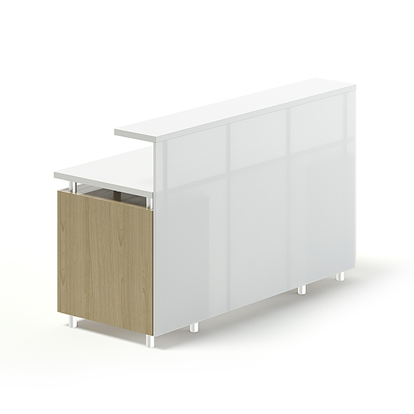 White and Wooden Reception Desk 3D Model - 3DOcean Item for Sale