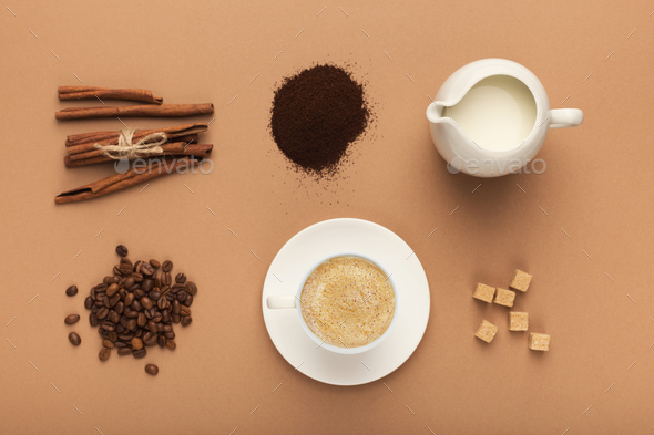 Preparing coffee background, top view - Stock Photo - Images