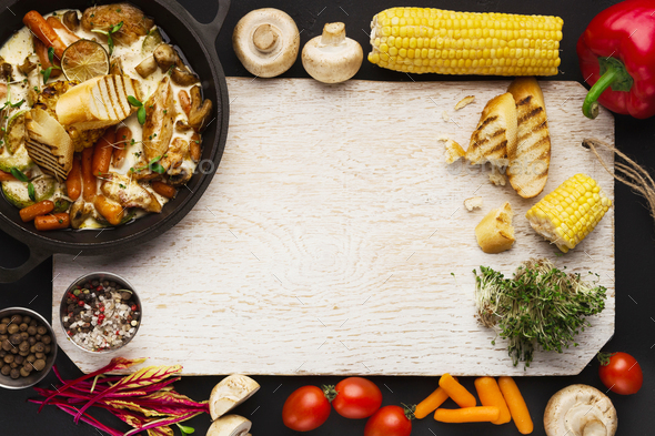 Meat stew, cooking ingredients on wooden cutting board, top view - Stock Photo - Images