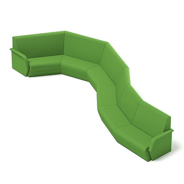 Green Waiting Sofa 3D Model - 3DOcean Item for Sale