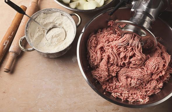 Preparing dumplings with meat, cooking ingredients - Stock Photo - Images