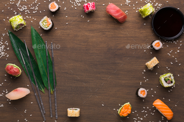 Asian food frame on wooden background - Stock Photo - Images