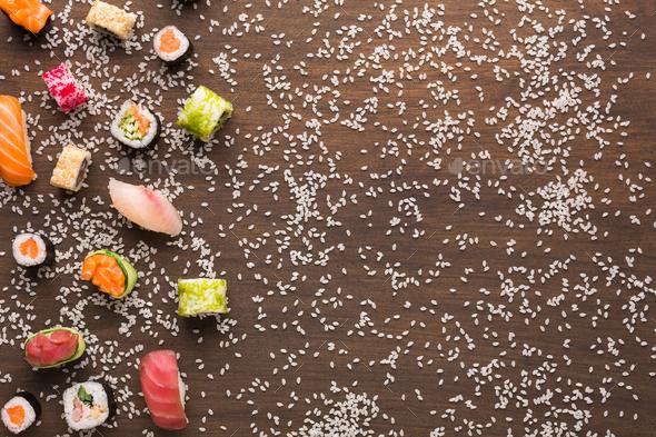 Set of sushi, maki, gunkans and rolls. Asian cuisine - Stock Photo - Images