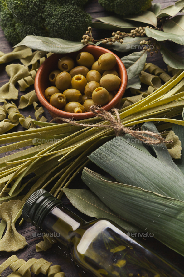 Assorted italian green pasta background - Stock Photo - Images