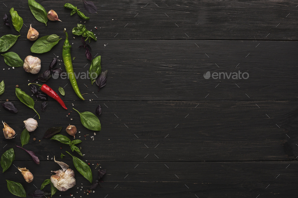 Border of fresh vegetables on wooden background - Stock Photo - Images
