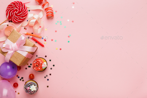 Birthday party background with gift and cakes - Stock Photo - Images