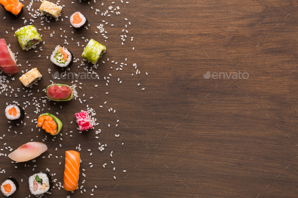 Set of sushi, maki, gunkans and rolls. Asian cuisine - Stock Photo - Images