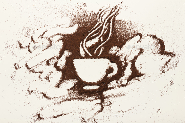 Drawing with ground coffee - cup and smoke, top view - Stock Photo - Images