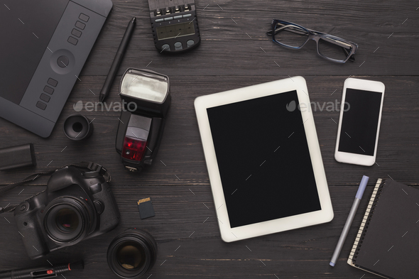 Diverse personal equipment for photographer - Stock Photo - Images