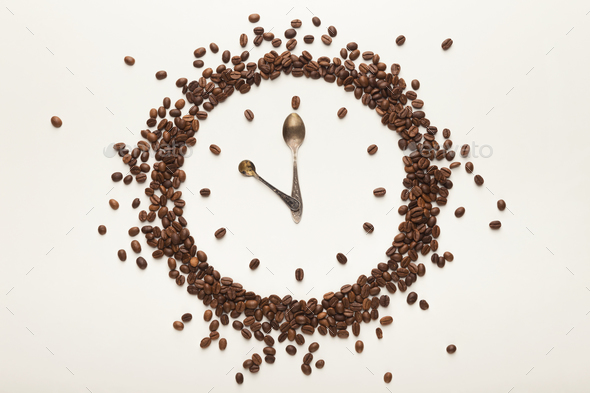Background with drawn clock, coffee break time - Stock Photo - Images