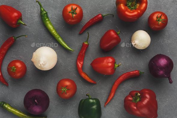 Fresh vegetables on grey background - Stock Photo - Images