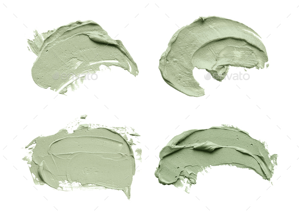 Blue clay facial mask smear on white isolated background - Stock Photo - Images