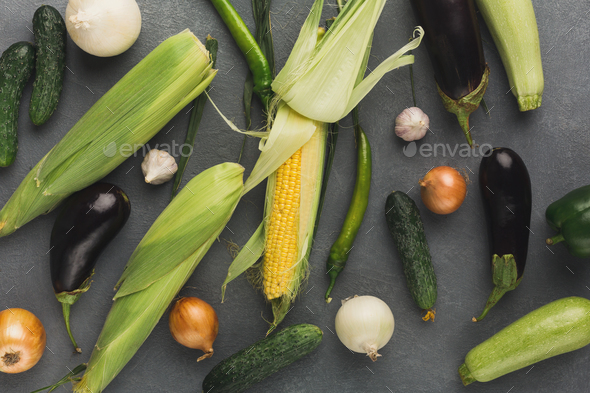 Fresh vegetables on grey background - Stock Photo - Images