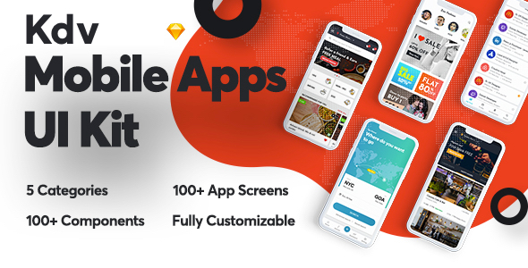 Kdv Mobile Apps sketch UI Kit for startups - Sketch Templates