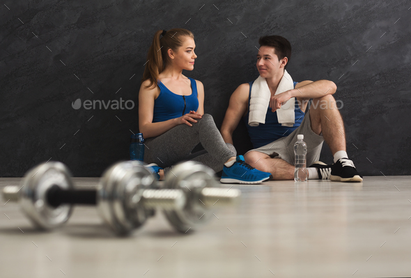 Fitness couple at gym - Stock Photo - Images