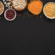 Various gluten free groats on black background with copy space - PhotoDune Item for Sale