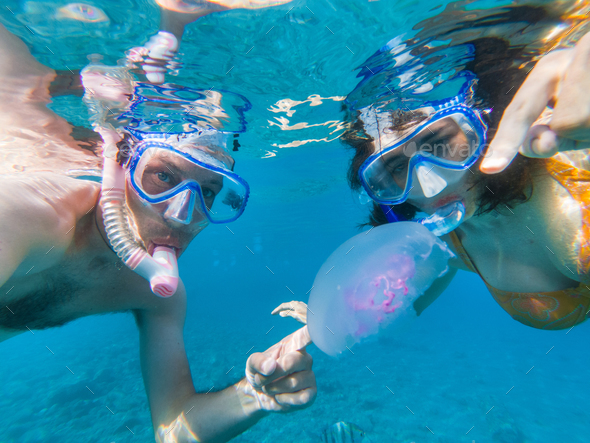 Couple snorkeling underwater with fishes and jellyfishes - Stock Photo - Images