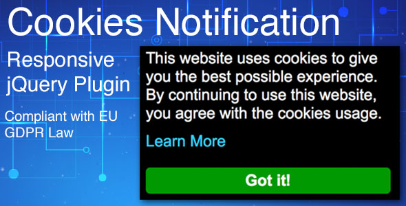 Cookies Notification - Responsive jQuery Plugin, Compliant with EU GDPR Law            Nulled