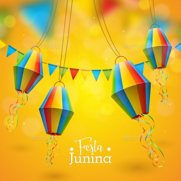 Festa Junina Illustration with Party Flags - Miscellaneous Seasons/Holidays
