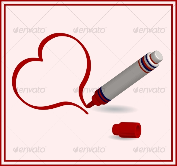 vector illustration of a red marker with heart - Seasons/Holidays Conceptual