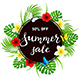 Text Summer Sale on Black Round Card with Butterflies and Flowers - GraphicRiver Item for Sale