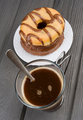 cup of hot coffee with donuts on black base - PhotoDune Item for Sale