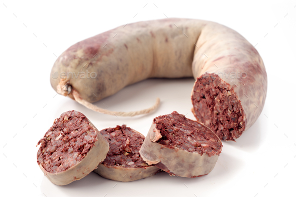 black pig blood sausage isolated on white background - Stock Photo - Images