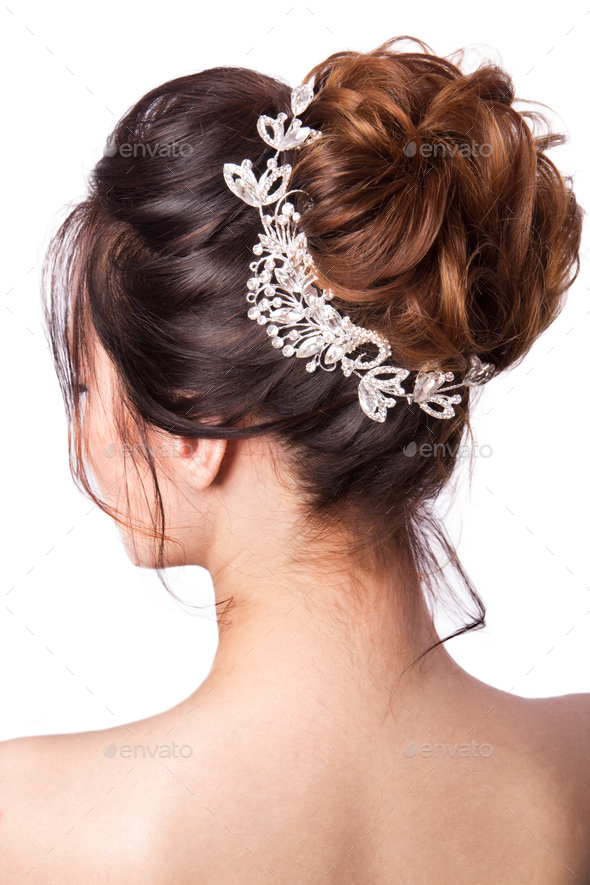 Beauty wedding hairstyle. - Stock Photo - Images