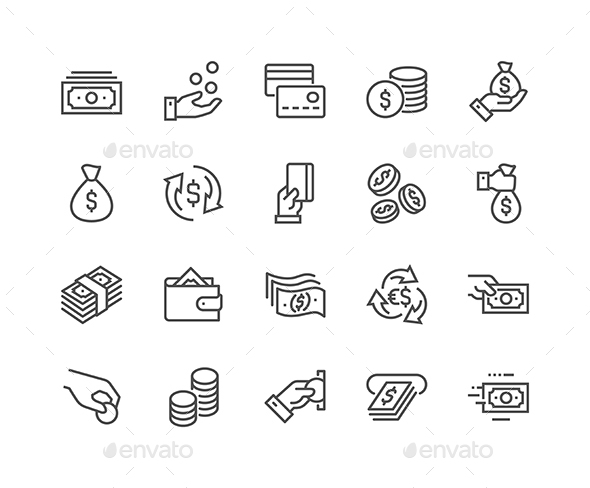 Lined Money Icons - Icons