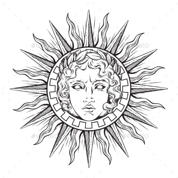 Sun With Face Of God Apollo Or Helios By Croisy Graphicriver