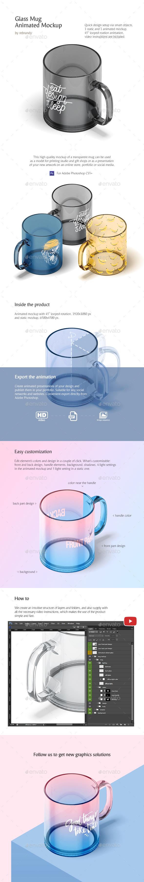 New Glass Mug Animated Mockup - Product Mock-Ups Graphics