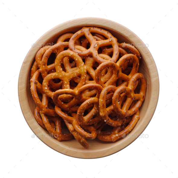 Salted pretzels in a wooden bowl - Stock Photo - Images