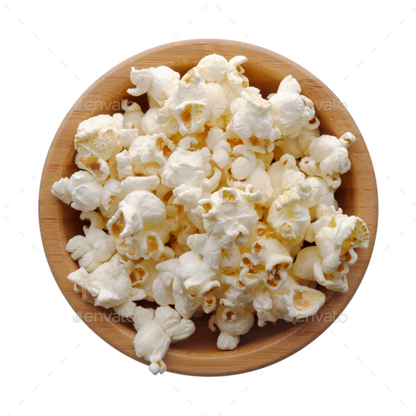 Popcorn in a wooden bowl - Stock Photo - Images