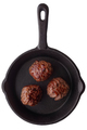 Three fried meatballs on a frying pan - PhotoDune Item for Sale