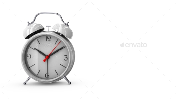White Alarm Clock. 3D Render - Objects 3D Renders