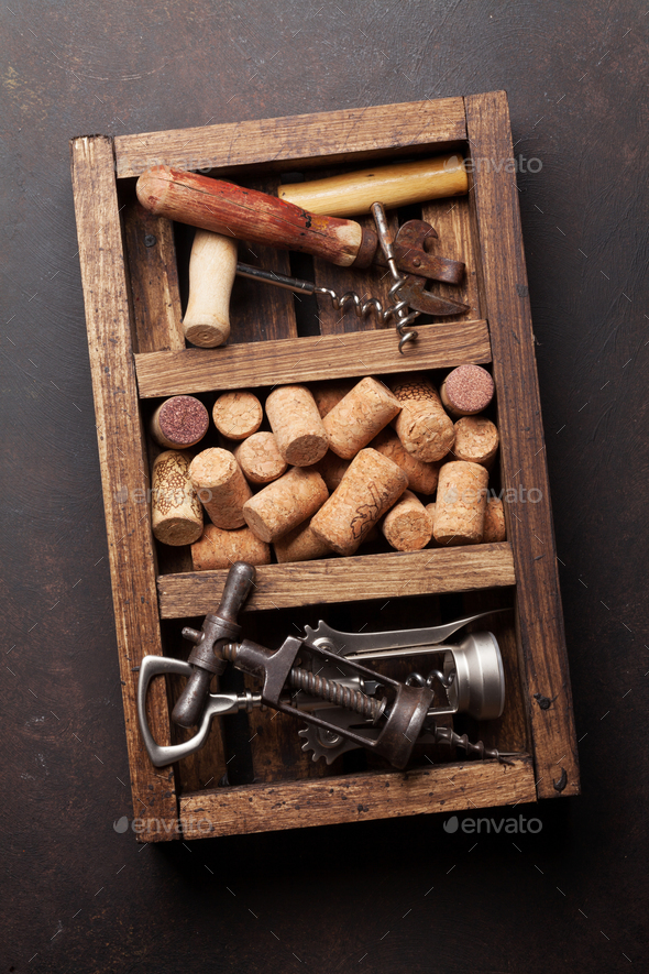Wine corkscrews and corks - Stock Photo - Images