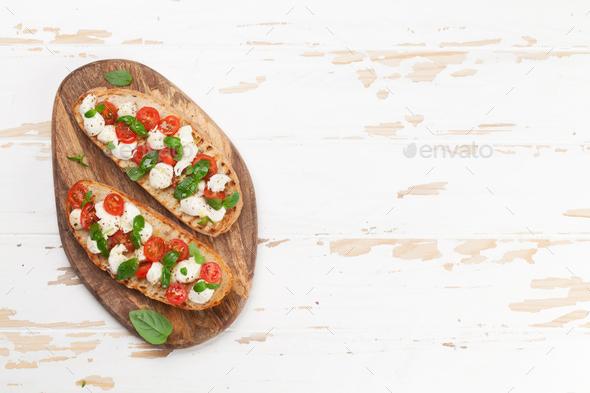 Caprese bruschetta toasts - Stock Photo - Images