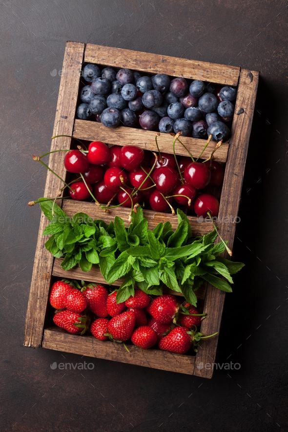 Fresh summer berries box - Stock Photo - Images