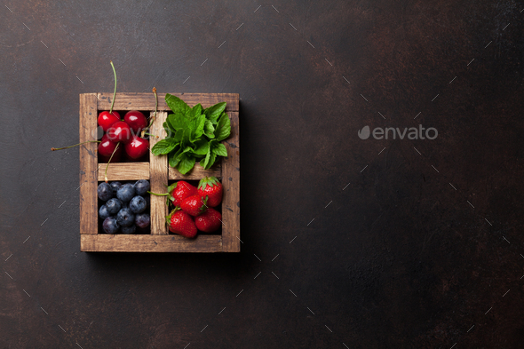Fresh summer berries box - Stock Photo - Images