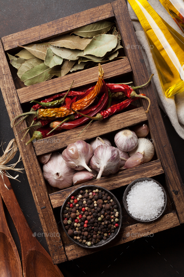 Dry spices in wooden box - Stock Photo - Images