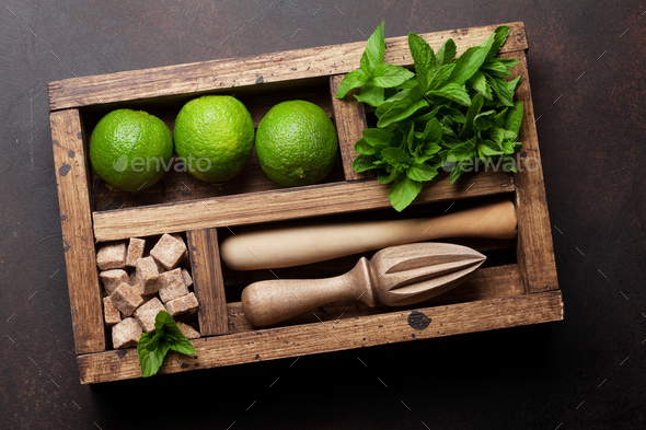 Mojito cocktail ingredients box - Stock Photo - Images