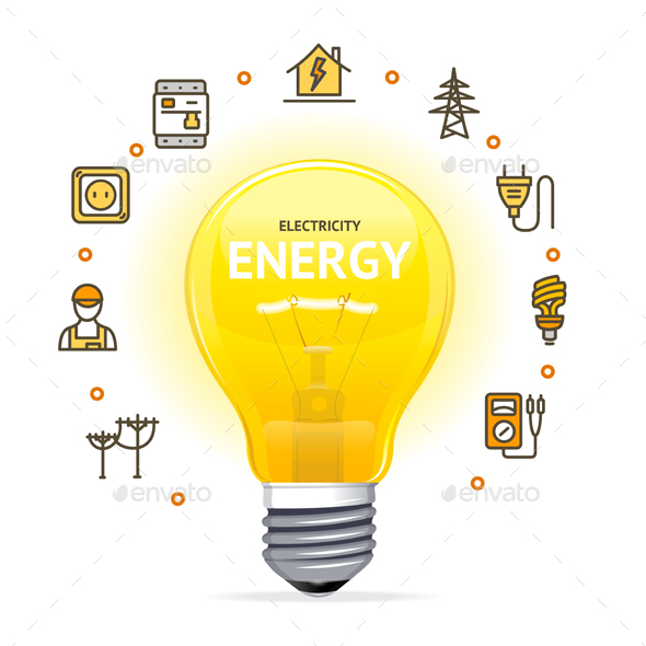 Electricity Concept With Realistic Detailed Electric Light Bulb    Miscellaneous Vectors