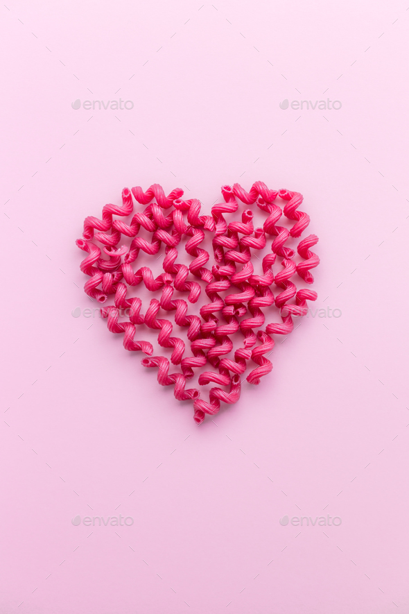 Pink Pasta in Heart Shape - Stock Photo - Images