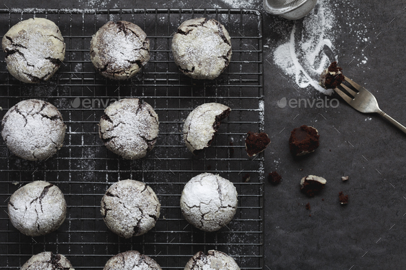 Homemade Chocolate Cookies Cooling on Wire Rack - Stock Photo - Images