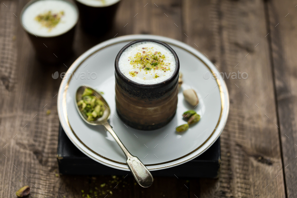 Indian Lassi Drink on Rustic Table - Stock Photo - Images