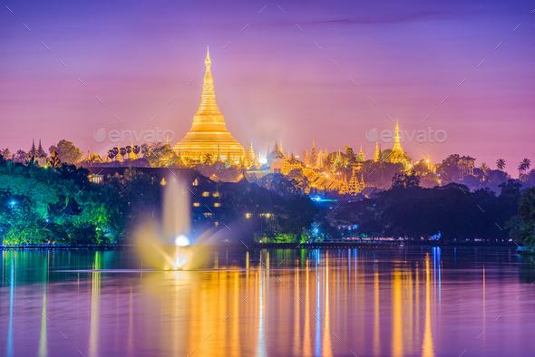 Yangon, Myanmar Pagoda - Stock Photo - Images